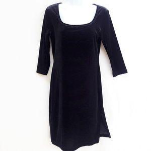Esprit Dress Velour Beaded Neckline Vintage S